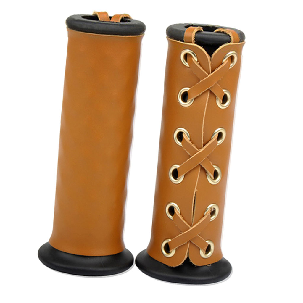 22mm 7/8 Inch Leather Motorcycle Hand Grip Throttle Covers Wraps