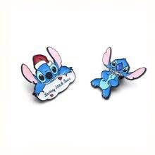 Stitch Lilo Jumba Jookiba Zinc alloy tie pins badges para shirt bag clothes cap backpack shoes brooches medal decorations E0352
