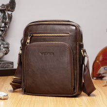 Vintage Men Shoulder Bag PU Leather Handbag for Male Black C