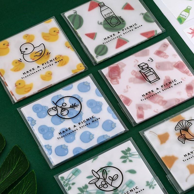 30pcs/set Sulfuric Acid Paper Series Memo Pad Sticky Notes Escolar Papelaria Bullet Journal School Supplies Kawaii Non-sticky