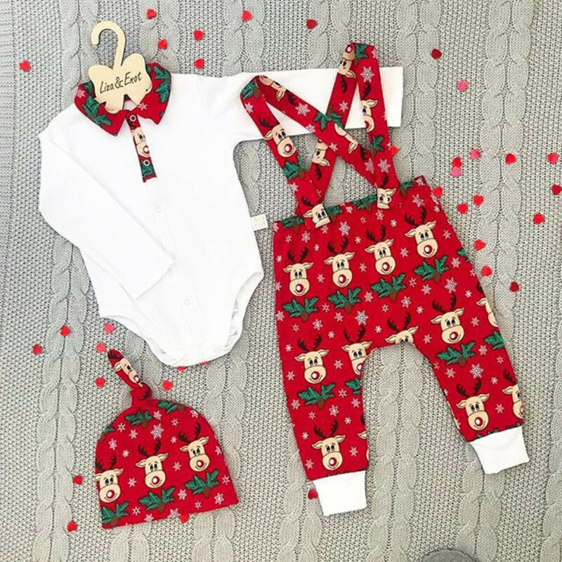 3 Pieces Newborn Clothes Set 0-18 Months Baby Boys Outfit Long Sleeve Romper Tops Bib Strap Pants Hats Baby Girls Christmas Set