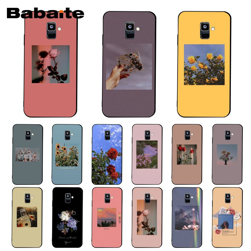 Babaite red yellow pink flower aesthetic Phone <font><b>Case</b></font> For <font><b>Samsung</b></font> Galaxy A7 A50 A70 A40 A20 A30 A8 A6 A8 Plus A9 2018 image