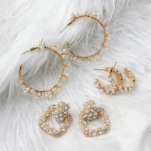 Женские серьги кольца с искусственным жемчугом flatfoosie элегантные