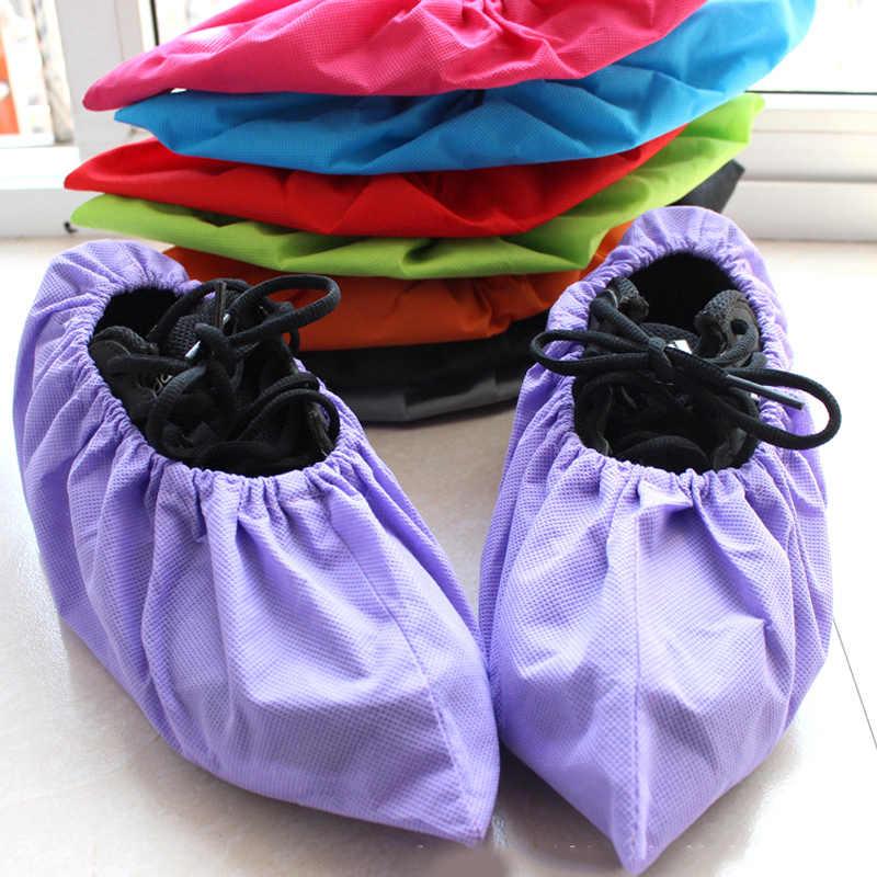 1 זוג לעבות לשימוש חוזר אלסטי כיסוי נעלי בית מקורה מערכות רובוטים תלמיד שאינו ארוג מוצק צבע אבק הוכחת רגליים כיסוי
