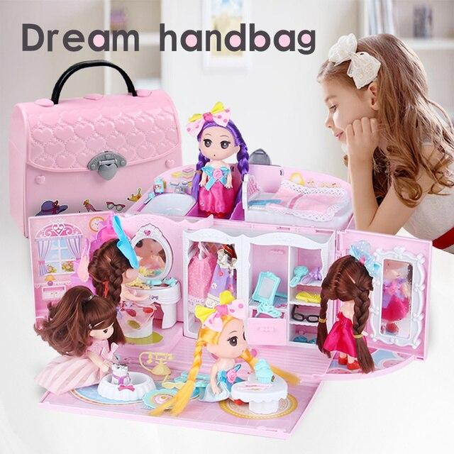 Bolso de Casa de Diy para muñecas, muebles, accesorios en miniatura, linda casa de muñecas, regalo de cumpleaños, figura para casa de juguete, muñecas, juguetes para niños