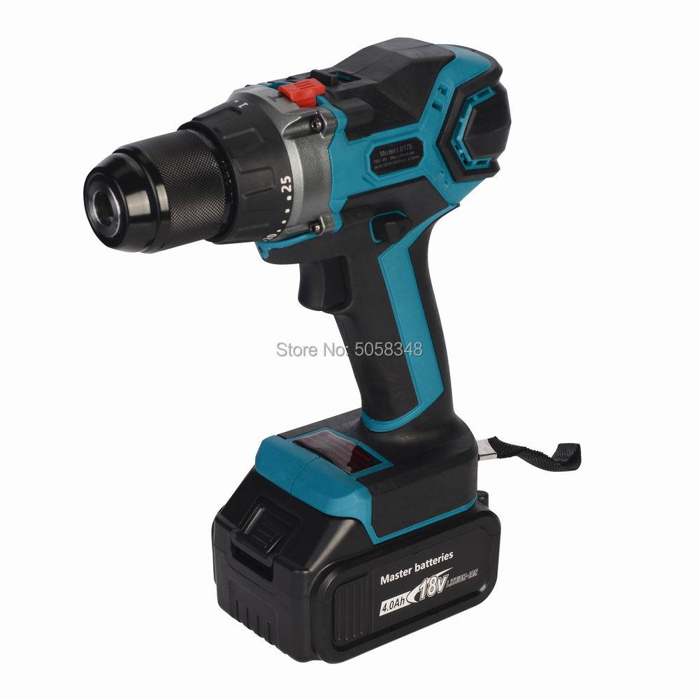 18V Cordless Brushless Impact Drill Hammer Drill Screw Driver Torque Drill With Two 4.0Ah Lithium Ion Batteries