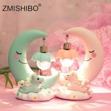 ZMISHIBO Resin Pink Blue Moon Unicorn Night Lights Room Table Decor Girls Gift Cold White Bulb Replaceable Animal Holiday Light