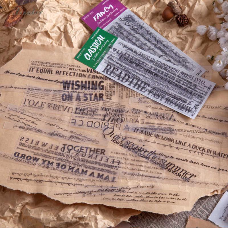 20 adet/torba Vintage İngilizce cümle PET şeffaf çıkartma paketi DIY günlüğü mermi günlüğü dekorasyon çıkartması albümü scrapbooking
