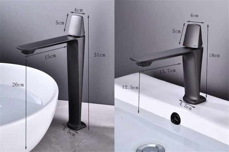 Basin Faucets Black Brass Faucet Hot and Cold Bathroom Sink Faucet Deck Mounted Toilet Nickel Grey Basin Faucets Black Brass Faucet Hot and Cold Bathroom Sink Faucet Deck Mounted Toilet Nickel/Grey Color Mixer Water Tap
