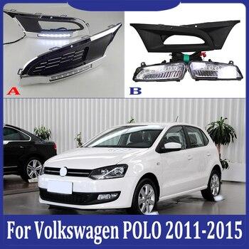 2pcs For Volkswagen POLO  2011-2015 6000K White Light LED Daytime Driving Running Light DRL Car Fog Lamp