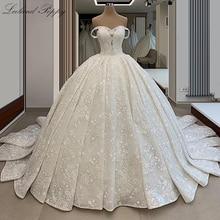 Lceland Poppy Off the Shoulder A line Wedding Dresses 2020 Beaded Lace Appliques Sleeveless Vestido de Novia Beaded Bridal Gowns
