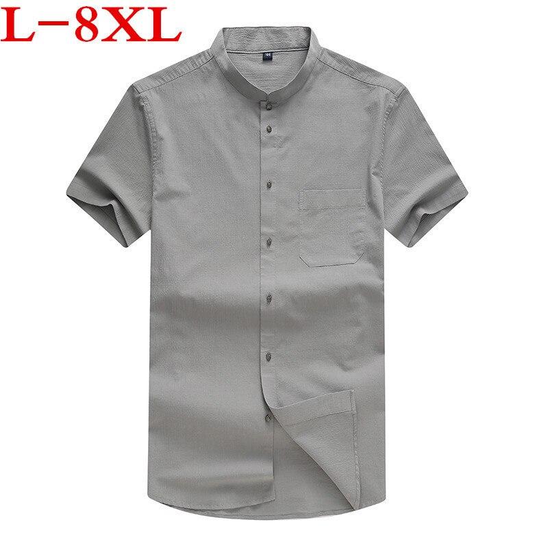 New Plus Size 8xl 7xl 6xl 5xl Stand Plus Size Men's Shirt  Leisure Cotton Big Add Fertilizer Increased Oversize Shirt Tide