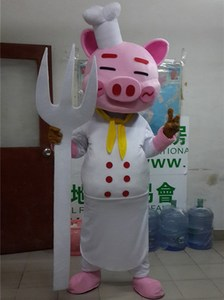 Image 2 - Cartoon Pig Mascot Costumes Adult Size Chef Pig Mascot Costume Cartoon Halloween Carnival Costume Advertising Parade Costumes