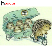 Huacan Diamond Painting Full Square New Arrival Hedgehog Mosaic Animal Diamond Art Cartoon Scenery Home Decoration