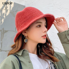 USPOP 2019 new fashion bucket hats women solid color warm female winter hat