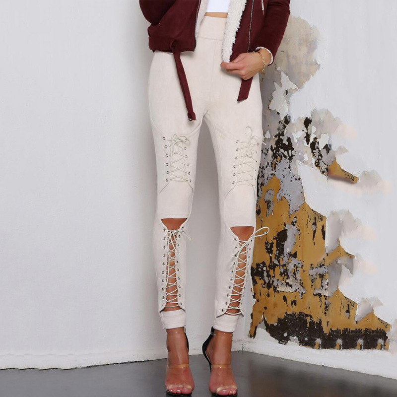New Women Sexy Bandage Legging Pants Lace-Up Women's Pants   Suede     Leather   Pencil Pants Lace Up Cut Out Fashion Trousers