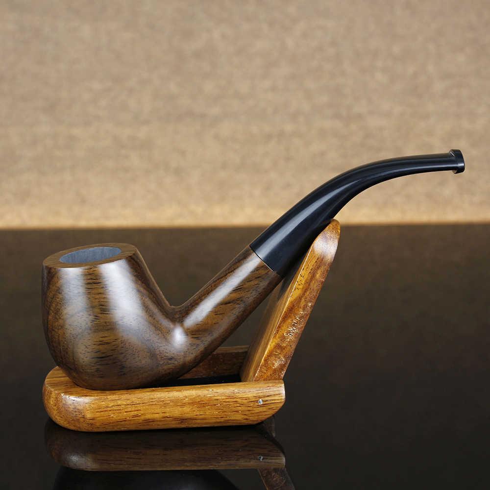 Klasyczne wygięte drewno hebanowe rury darmowe narzędzia zestaw 9mm filtr fajka Handmade fajka do tytoniu najlepsza drewniana fajka FT-508D