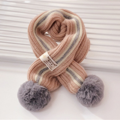 Children's Knit Winter Cashmere Warm Comfortable Solid Color Scarf Boys Girls Universal Raccoon Fur Pom-pom Kids Scarves