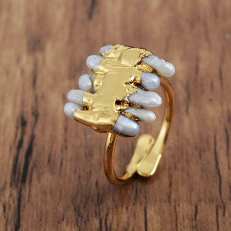 adjustable lady ring Luxury handmade gold plated 925 silver natural freshwater pearl crown ring gift for her