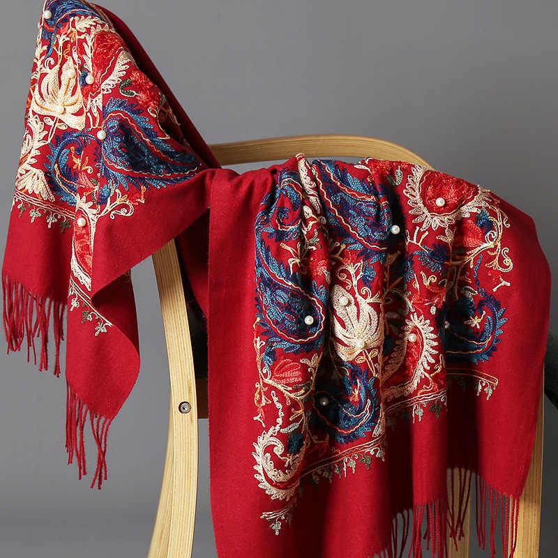 Baru Musim Dingin Hangat Syal Solid untuk Wanita/Wanita Lembut Kasmir Pashmina Selendang Bordir Bunga Kasmir Wanita Ukuran Besar Membungkus jubah