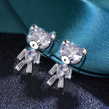 Cute bear Crystal Cubic Zirconia Stud Earrings for Women Girls S925 Silver Needles 2019 black friday deals(China)