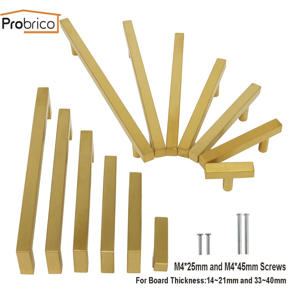 Probrico Cabinet Handles And Knobs Gold Brass Kitchen Door Handles Modern Cupboard Wardrobe Drawer Pulls Furniture Hardware
