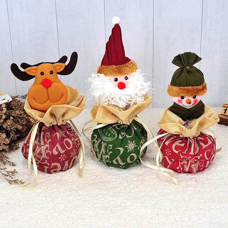1Pcs Christmas Candy Bags Pouch Knitting Santa Claus Snowmen Xmas Apple Gift Bag Children Bag Drawstring Container