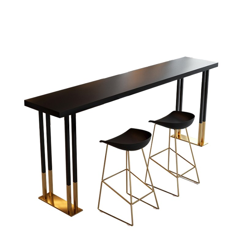H1 Nordic Light Luxury Wrought Iron Wood Bar Stool Home Tea Shop Wall Bar Stool High Chair Chairs Bar Stools  Cheap Metal Stool