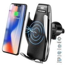 Беспроводное Автомобильное зарядное устройство S5 Qi, 10 Вт, быстрая зарядка, держатель для телефона с умным датчиком, автоматическое зажимное...