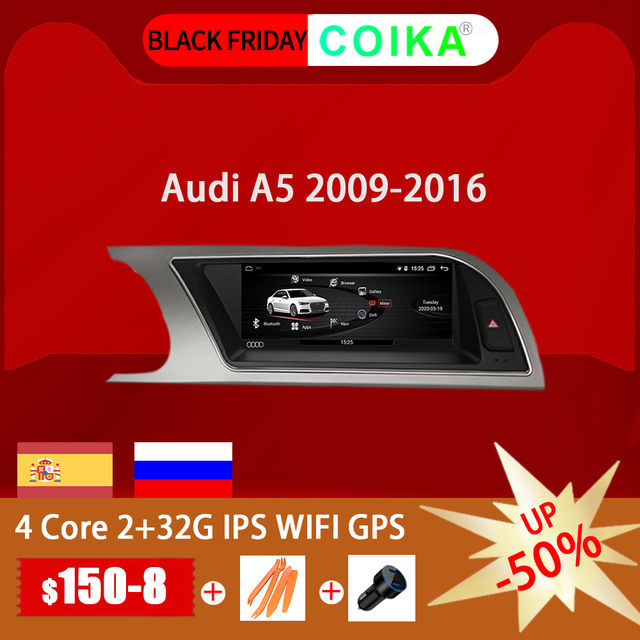 "COIKA 8.8 ""אנדרואיד 10.0 מערכת רכב מגע מסך רדיו לאאודי A5 2009 2016 עם 2 + 32G RAM GPS Navi Google Carplay WIFI SWC DVR"