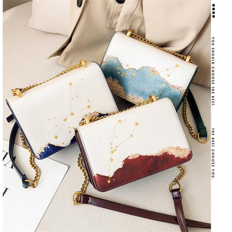 2019 New Luxury Chain Small Bag Female Fashion Constellation Pu Shoulder Bag Trend Wild Chain Woman Small Square Bag