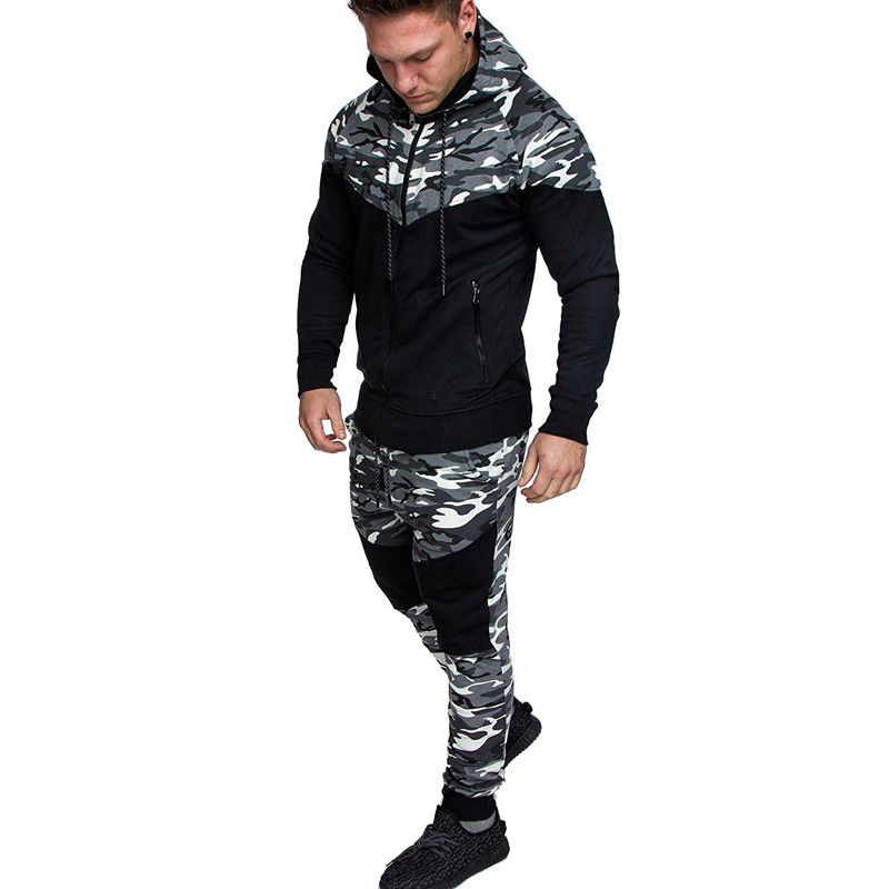 Men Long Sleeve Camo Hoodies Sweatshirt And Tracksuit Long Pants 2Pcs Sets With Pockets