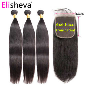 Straight Hair Transparent Lace 3 Bundles With Closure 6x6 4x4 Brazilian Remy Human Hair Weave Bundles Free Middle Three Part - DISCOUNT ITEM  51% OFF All Category