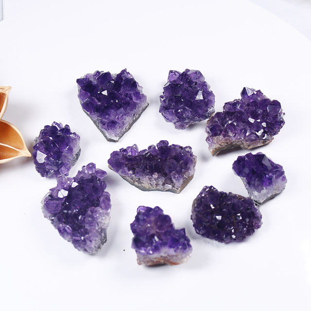 Natural Raw Amethyst Quartz Purple Crystal Cluster Healing Stones Specimen Home Decoration Crafts Decoration Ornament 2