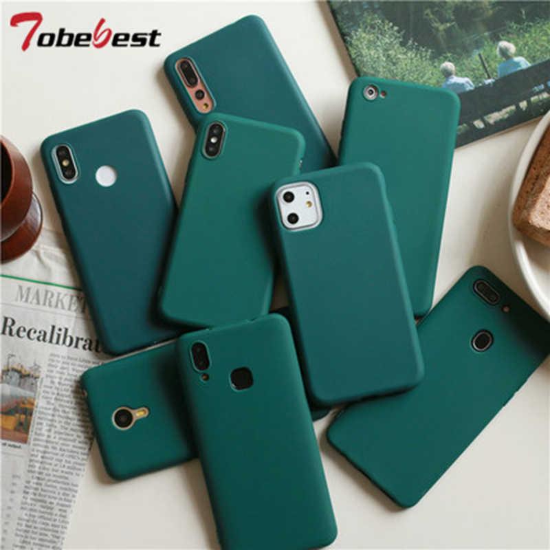 Verde scuro Opaca Della Cassa Del Telefono Per il iphone 12 mini 11 Pro XS Max XR X 8 7 6S 6 più di Custodie In Silicone di Colore Solido Molle di TPU ...