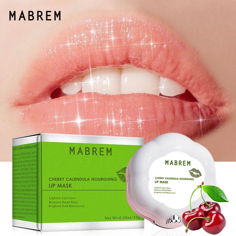 MABREM Lip Mask Night Sleep Maintenance Moisturizing Lips Balm Cherry Flavor Nourish Relieve Dryness Protect Lips Care Mask 10g
