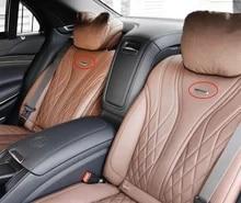 2 قطعة شارة معدنية فضية شعار لمرسيدس بنز AMG Brabus Maybach S400 S500 S600 سيارة التصميم مقعد الظهر شعار مع مقاطع