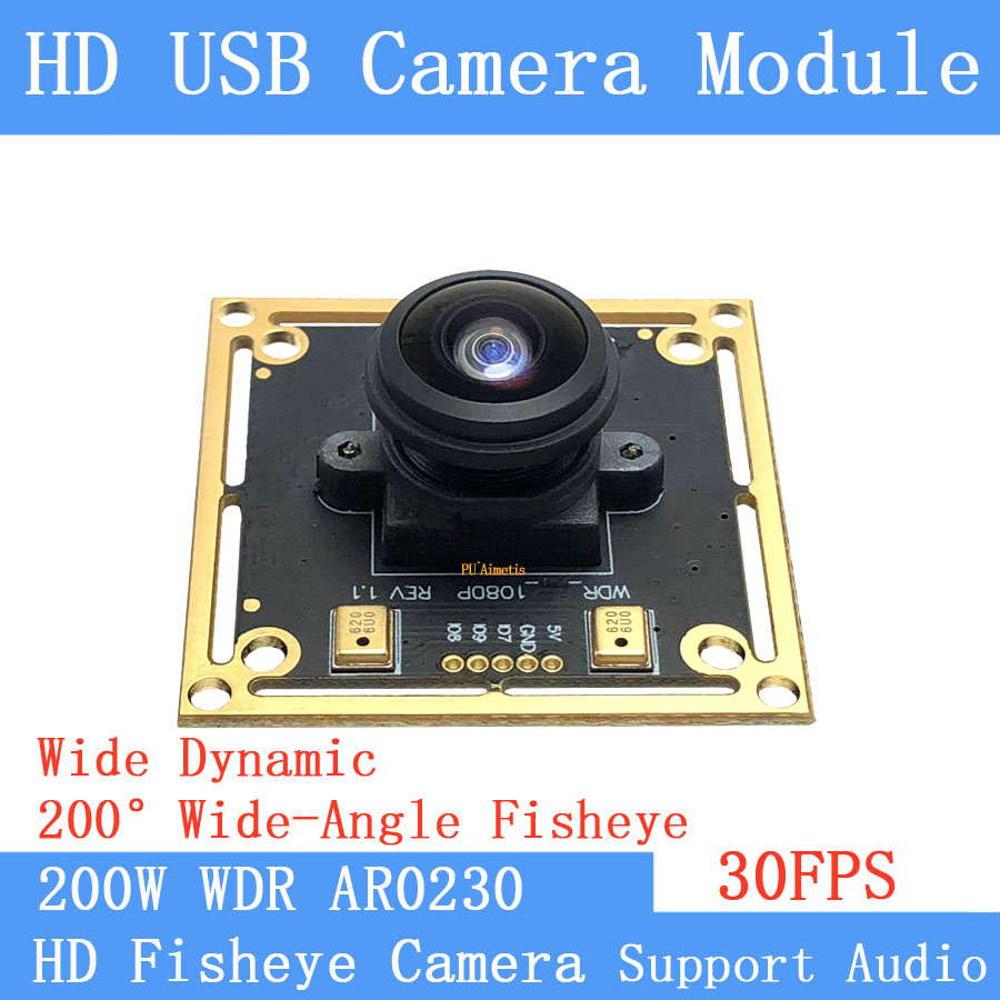 30FPS 1080P USB camera module 2MP 200° Fsheye Panorama Wide-angle Backlight shooting wide dynamic OTG UVC Webcam Linux Audio image