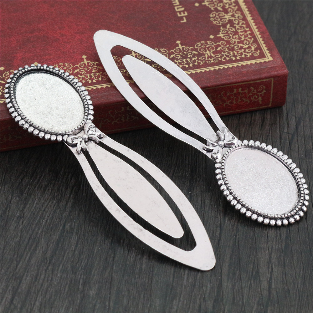 New Fashion 2pcs 18x25mm Inner Size Antique Silver Plated Simple Style Handmade Bookmark Cabochon Base  Cameo Setting (H1-07)
