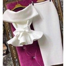 Новинка, женские рубашки с коротким рукавом и рюшами, с бантом, комплект из 2 предметов, однотонные кружевные топы с открытыми плечами и облегающая юбка, Сексуальные клубные вечерние костюмы