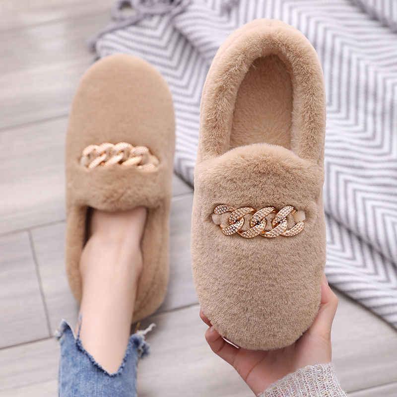 2019 Warm Slippers Vrouwen Winter Schoenen Bowtie Pluche Binnenkant Loaferes Dames Indoor Home Slippers Pantuflas Dames Slip Op Schoenen