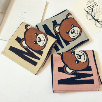 Korean Plaid Wool Cartoon Bear Letter Tassel Warm Fall Winter Thick Kids Children Boys Girls Shawls Wrap Scarves Accessories
