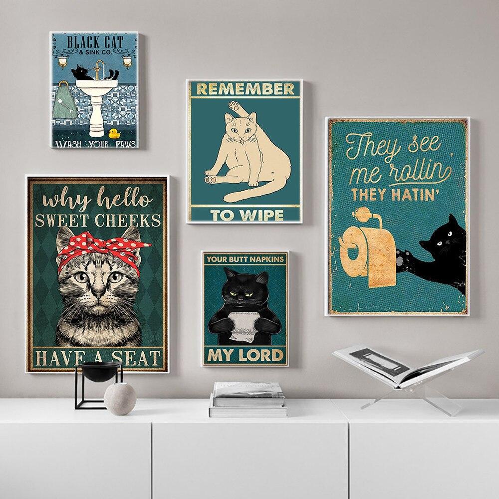 Психического черная кошка плакат попы салфетки господин мой художественный принт Винтаж Hello очаровательные щеки забавные Ванная комната живопись на холсте домашний декор