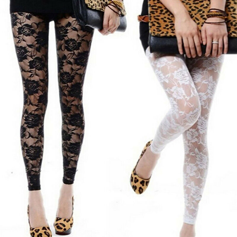 Goocheer New Fashion New Women Floral Lace Footless Through Rose Hollow Tights