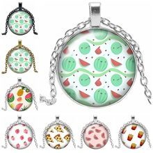 2019 Hot Sale of The Latest Colorful Fruit Pattern Series Glass Cabochon Pendant Necklace Fashion Jewelry Gift