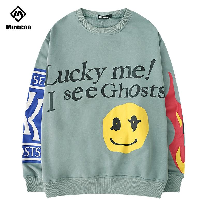 Lucky Me I SEE GHOSTS Sweatshirt Men Smile Print Hoodies Men O-Neck Harajuku High Street Sweatshirts Hip Hop 2019 Streetwear