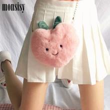Heart-Bags Crossbody-Bag Peach Lolita Plush Girls Women Kawaii Winter Monsisy for Lady