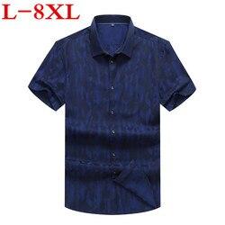 Plus Size 8XL 7XL 6XL 5XL 4XL Heren Shirts Fashion Nieuwe Lente Zomer Korte Mouwen Casual Solid Man Shirt