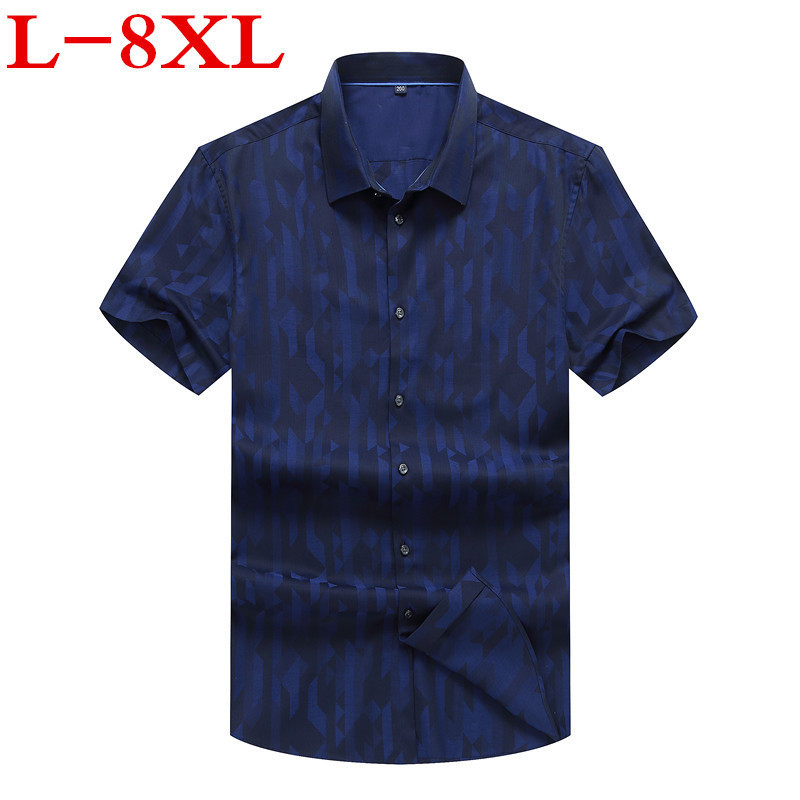 Plus  Size 8XL 7XL 6XL 5XL 4XL Mens Shirts Fashion  New Spring Summer Short Sleeves Casual Solid Man Shirt