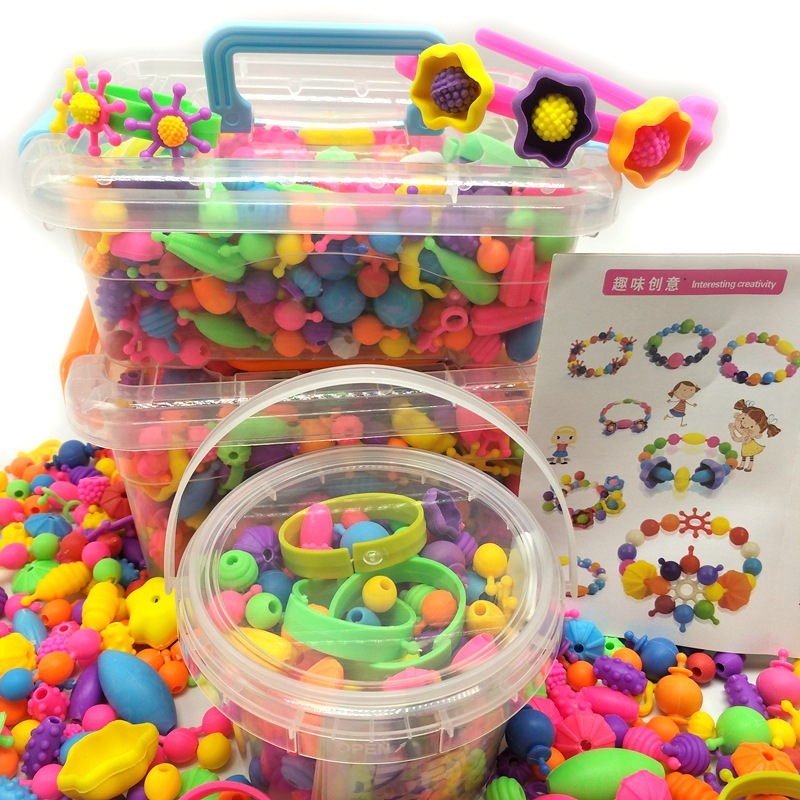 Factory Price Boxed Educational Toy Cordless Popper Beads DIY String Beaded Bracelet Plastic Beaded Bracelet GIRL'S Toy
